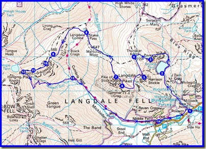 Our route - 16 km, 1100 metres ascent, in a leisurely 7 hours