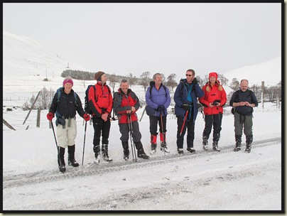 Setting off up Creag nan Gabhar from the closed A93 - Martin, Dave, Mark, Ian, Gus, Margriet and Jerry