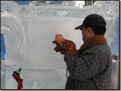 Competitive ice carving