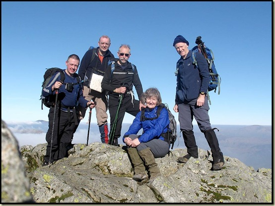 On the summit of Great Gable - JJ, Stuart, Rick, Viv, Martin