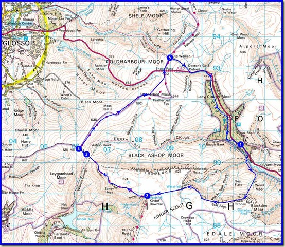 Our 17 km route, with 620 metres ascent, taking 6.5 hours