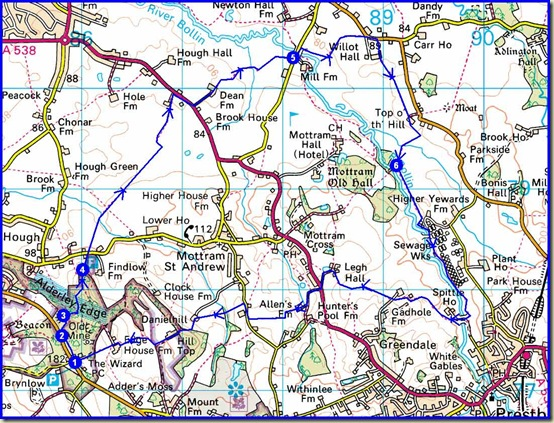 A circuit from Alderley Edge - 14 km, 230 metres ascent, 3-4 hours