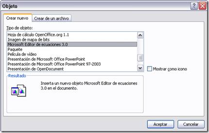 Editor de ecuaciones Excel 2007