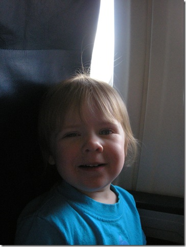 Kaitlyn (2 years old) on plane from Portland to Atlanta