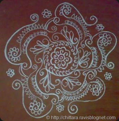 Deepavali rangoli design on floor chittara rangoli pattern for Floor rangoli design