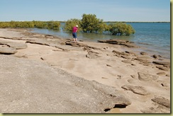 Pat seeking crocodiles at Kuramba point beach