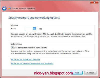 Setting Memory Virtual PC