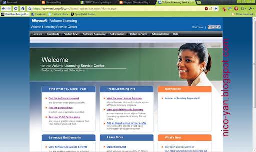 Situs website dari Volume Licensing Key
