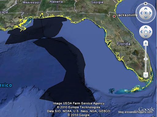 BP Gulf oil spill 72 Hour Uncertainty Trajectory 6/08/2010