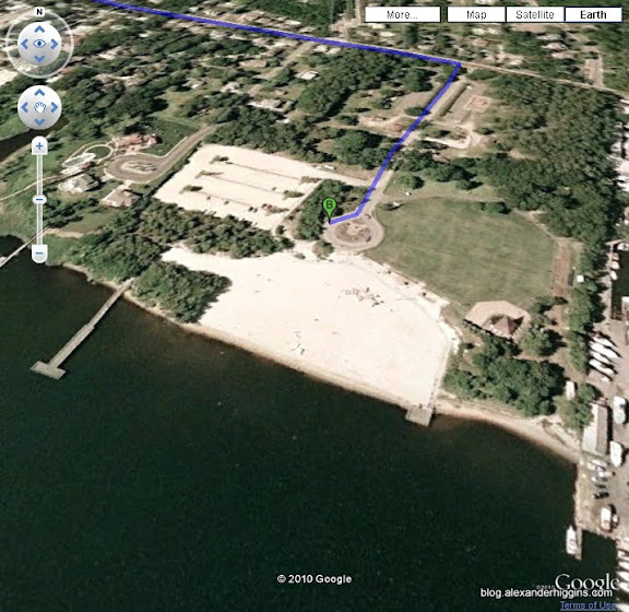 Windward Beach, Brick NJ In Google Earth.  Location Of the Brick NJ Tar Balls.