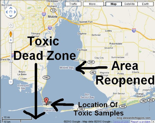 Despite toxic water samples and confirmation of dead zone for Fishing in mobile al