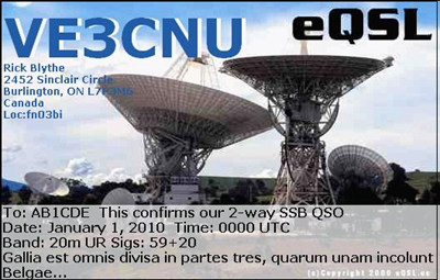 QSL card for VE3CNU