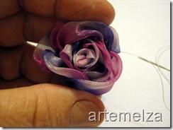 artemelza - flor de fita - rosa