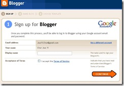 Setup Blogger Screen 1