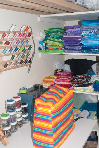 clean and organized sewing room