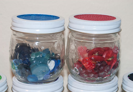 blue and red button jars diy