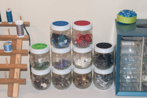 stacked button jars