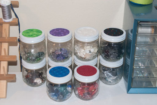fabric button jar lids