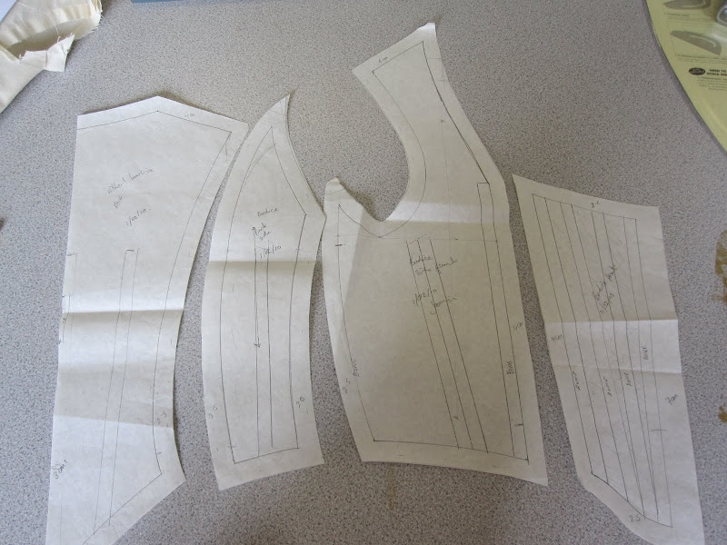 Period bodice pattern pieces with bone placement