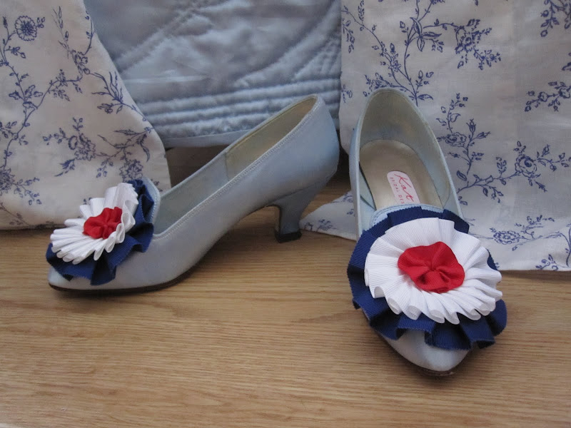 Red, white and blue cockade shoes finished