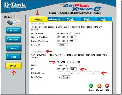 Configurando o DHCP Estático