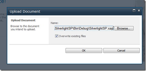 Uploading the xap file to SharePoint