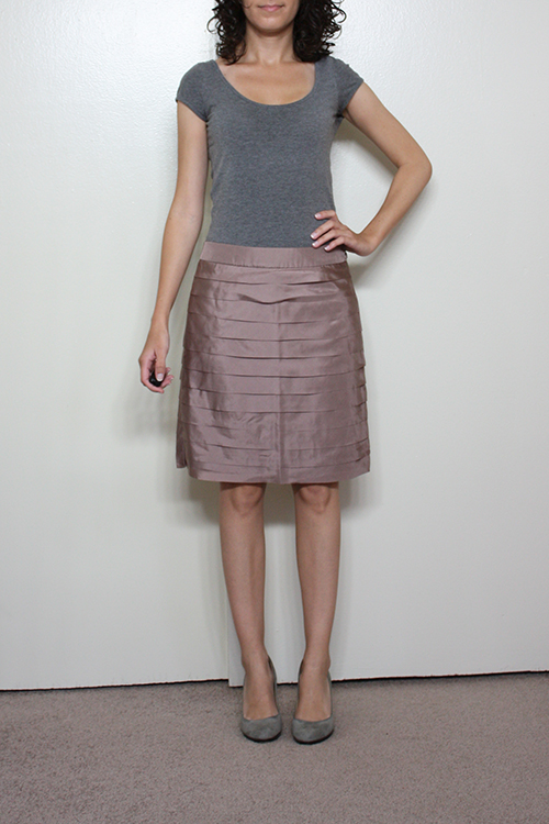 Review: LOFT Petite Silk Tiered and Metallic Slub Jacquard Skirts