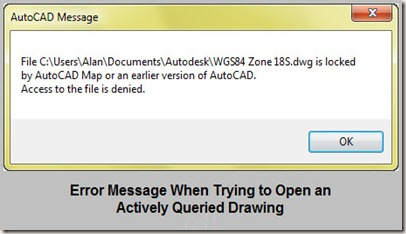 error message trying to open queried drawing