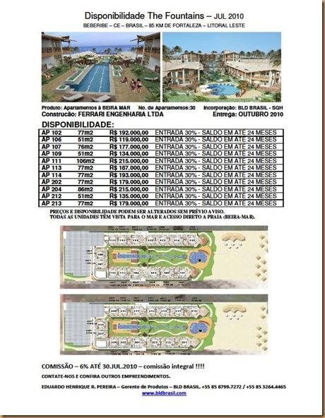 Disponibilidade e Tabela - The Fountains - Julho 2010 - CORRETORES