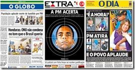 Imprensa Carioca manifesta apoio à polícia