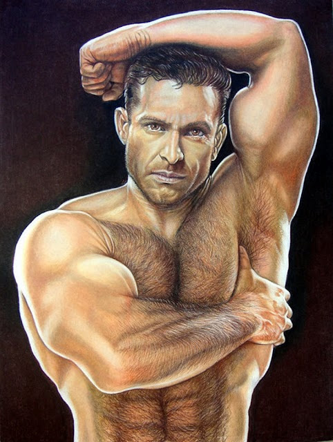 shirtless portrait of adam champ by keith mcdowell showing his hairy chest