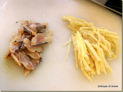 salted fish and sliced ginger