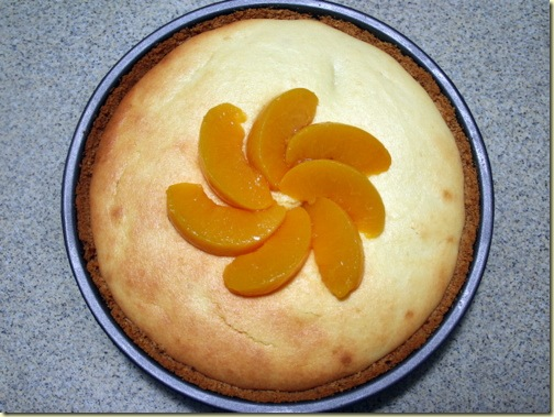 baked cheese pie with peaches