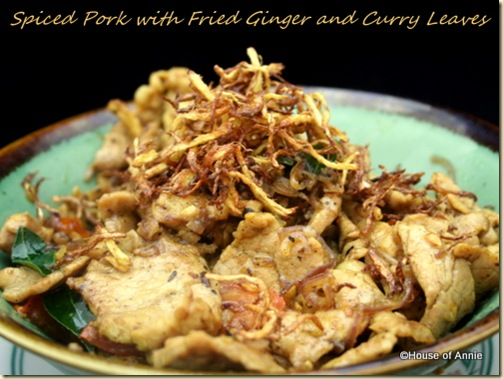 spiced pork with fried ginger and curry leaves