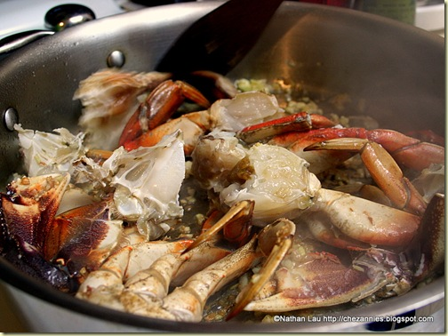 Frying Chopped Dungeness Crab