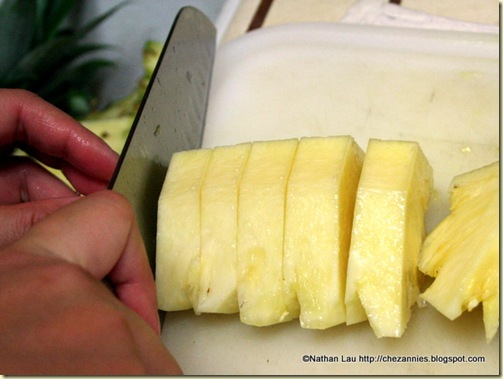 Cutting the Pineapple into Chunks