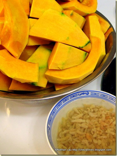 Peeled Kabocha Squash and Rehydrating Hae Bee