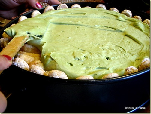 Top layer of green tea tiramisu