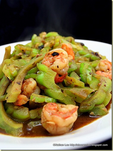 Bittermelon and Shrimp in Black Bean Sauce