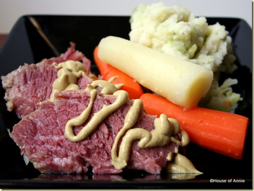 corned beef, carrots and colcannon