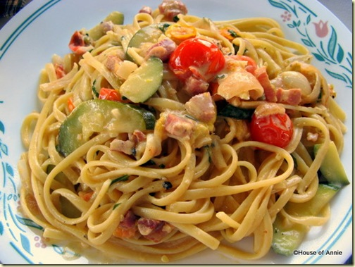 Linguine with Pancetta, Zucchini, Shallots, and Homegrown Cherry Tomatoes