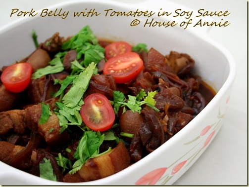 Braised Pork Belly with Tomatoes in Soy Sauce