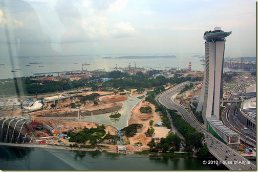 marina and tanjong pagar terminal from singapore flyer