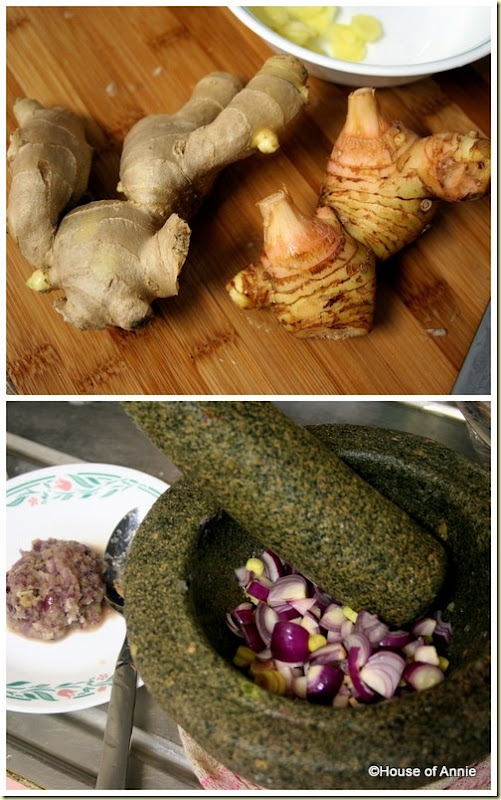 ginger and galangal, pounding aromatics