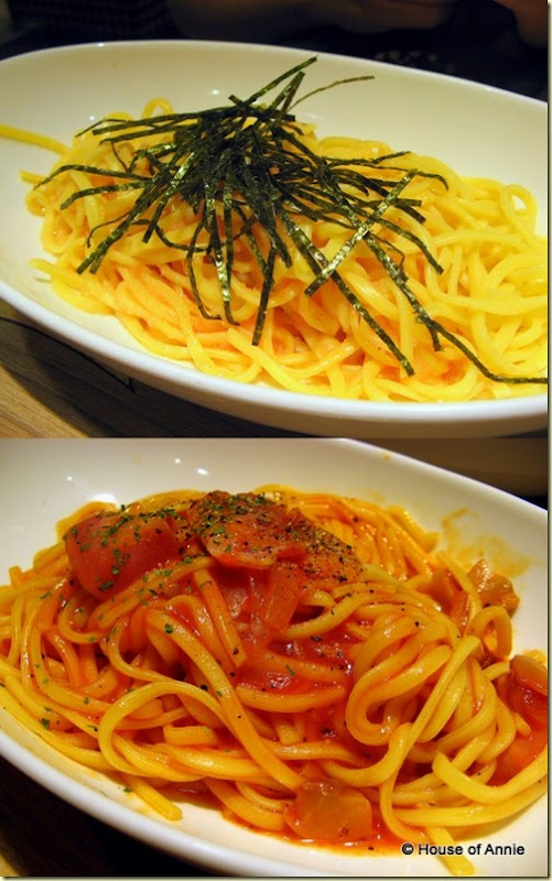 tarako and bacon spaghetti plates