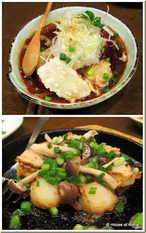 agedashi tofu and fried scallops and mushrooms
