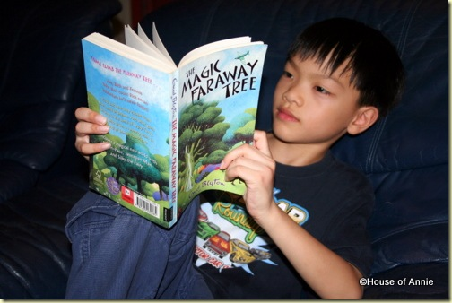Daniel reading The Magic Faraway Tree