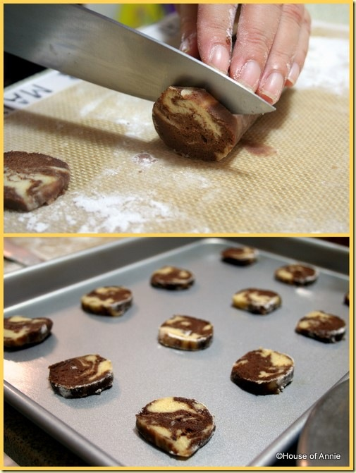 slicing and baking marble cookies