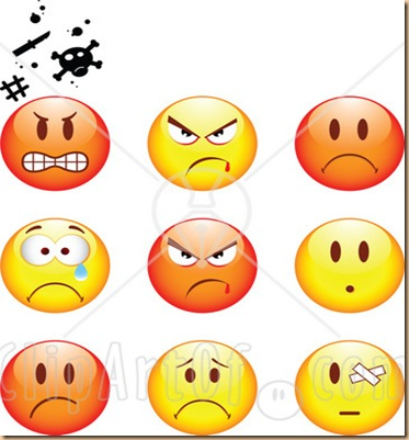 25453-clipart-illustration-of-a-group-of-mad-angry-bully-crying-and-bandaged-red-and-yellow-emoticon-faces