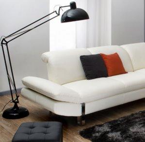 Canapé cuir angle blanc